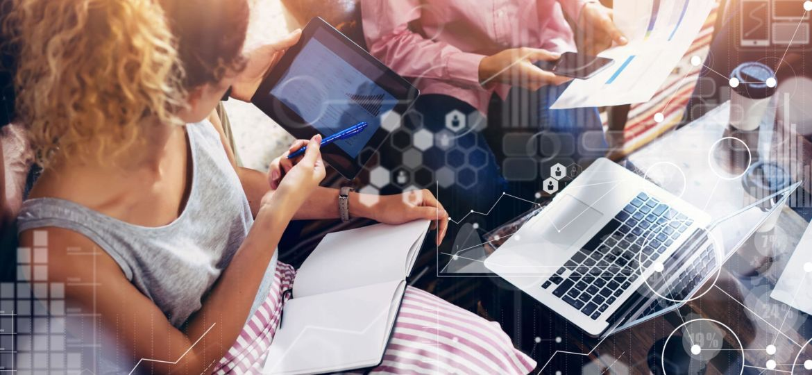 Global Connection Virtual Icon Graph Interface Markets Research.Coworkers Team Brainstorming Meeting Online Business Electronic Gadget.Businessman Startup Digital Project.Crops Blurred Background.